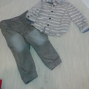 18 month boys outfit, Carter's & Cat & Jack Gray